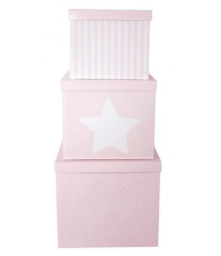 Set di 3 grande scatole porta giochi stella rosa