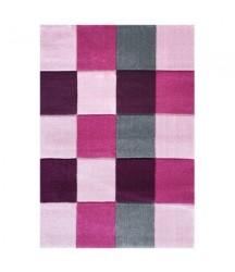 Tappeto Quadrati Rosa e Grigio