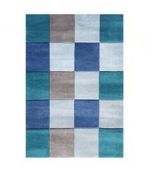 Tappeto Quadrati Azzurro e Grigio