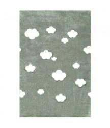 Tappeto Verde Militare a Nuvole Bianche