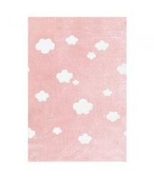 Tappeto Rosa a Nuvole Bianche