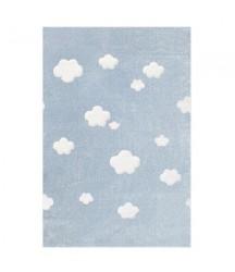 Tappeto Bambini Azzurro a Nuvole Bianche