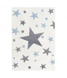 Tappeto Bianco a Stelle Azzurre e Grigie