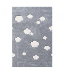 Tappeto Grigio a Nuvole Bianche