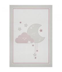 Tappeto Crema con Luna e Nuvola Rosa