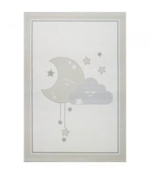 Tappeto Crema con Luna e Nuvola  Grigia/ Argento