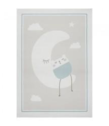 Tappeto Crema con Luna e Orsetto  Menta