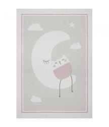 Tappeto Crema con Luna e Orsetto Rosa